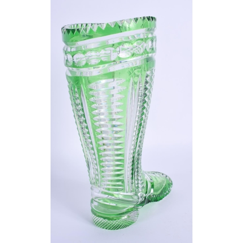 31 - A VINTAGE BOHEMIAN GREEN GLASS BOOT VASE. 20 cm high....