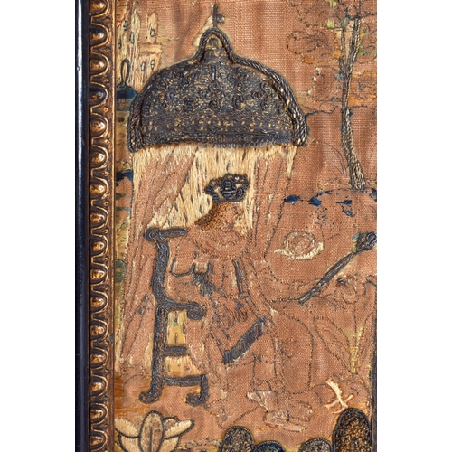 370 - A VERY RARE 17TH CENTURY ENGLISH EMBROIDERED STUMP WORK PANEL depicting a very unusual scene of a Ki...