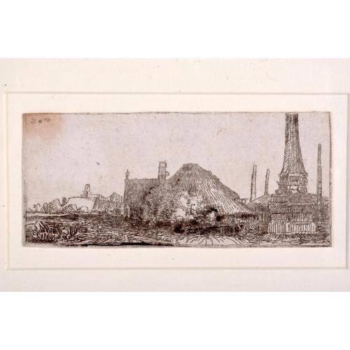 372 - John Clerk of Edlin (1728-1812) Engraving, Landscape with Obelisk. Image 8 cm x 4.5 cm....