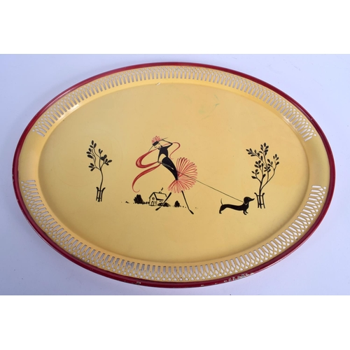 375 - A VINTAGE PAINTED RETRO TIN PLATE OPEN WORK TRAY painted with a stylised female. 50 cm x 35 cm....