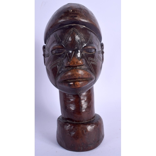 377 - A LOVELY EARLY 20TH CENTURY AFRICAN TRIBAL HARDWOOD BUST with unusual engraved scarified features. 2...