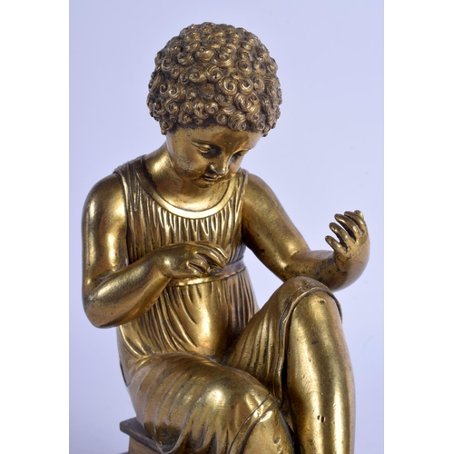 380 - A LOVELY 19TH CENTURY CONTINENTAL GRAND TOUR GILT BRONZE FIGURE modelled upon a veined marble plinth...