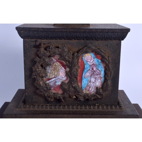 381 - A RARE LARGE 18TH/19TH CENTURY CONTINENTAL ENAMELLED CAST IRON CORPUS CHRISTI painted with ecclesias...