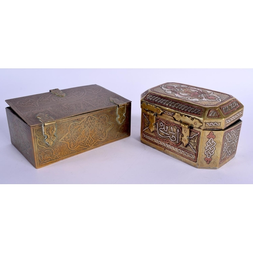 385 - A 19TH CENTURY INDIAN PERSIAN ISLAMIC BOX AND COVER together with another. Largest 13 cm x 8 cm. (2)...