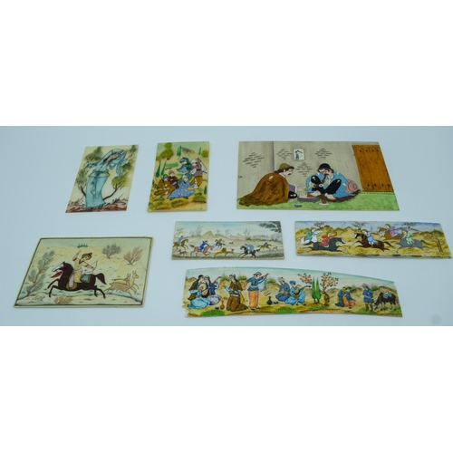 4010 - Collection of Iranian small pictures painted on Ivory largest 16 x 10cm. (7)...