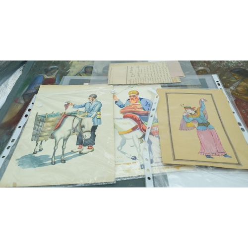 4013 - Collection of Charcoal Middle Eastern drawings and Iranian watercolours 52 x 34 cm . (11)AF...