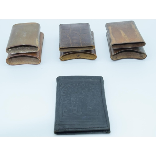 4015 - Three vintage leather cigar cases and a Turkish leather wallet. (4)...