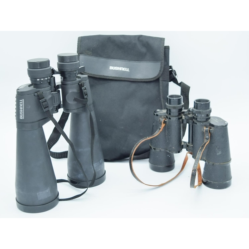 4018 - A pair of Bushnell binoculars together with Optomax binoculars . (2)...