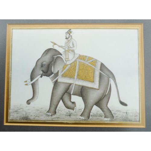 4021 - An Indian Painted ivory panel  depicting an elephant 15.5 x 11 cm ....