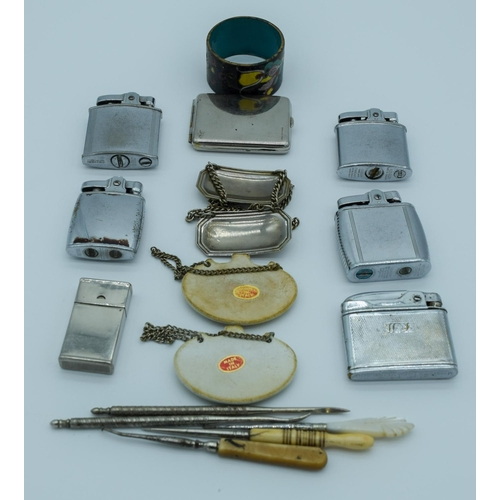 4027 - Collection of  Lighters, button hole threaders and decanter labels Qty....
