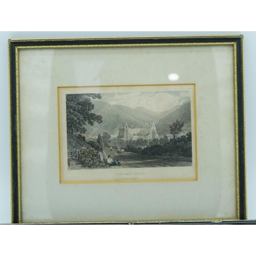 4028 - Small  coloured Lithographic print of Tintern Abbey and two others largest 16 x 11cm....