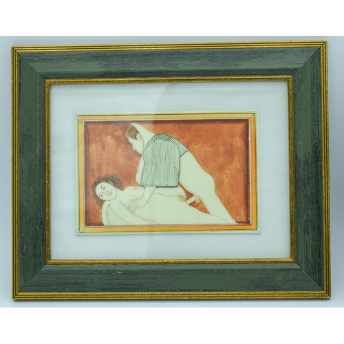 4037 - Two framed erotic pictures 10 x 15cm (2)....