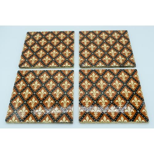 4043 - Four Victorian Minton Fleur de Lis tiles 20.5 x 20.5 cm...