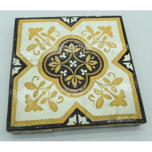 4044 - Three Victorian Neogothic Majolica tile 15 x 15cm (3)....