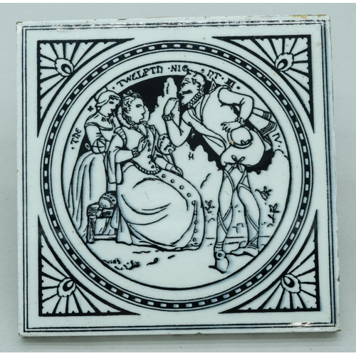 4047 - A Minton Tile in the style of Moyr Smith Shakespeare pattern 15 x 15cm...