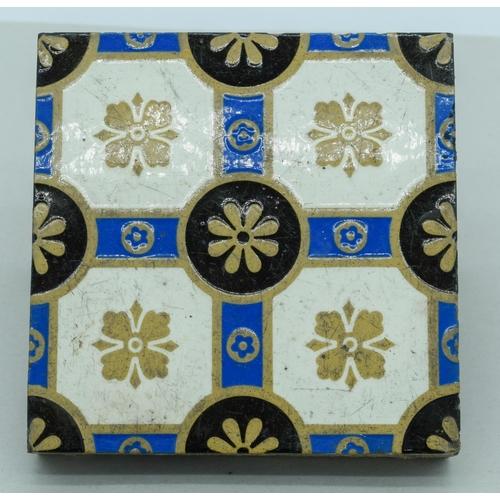 4049 - Three Victorian Minton Aesthetic Block printed hearth  tiles 15 x 15cm (3)....