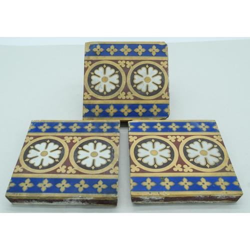 4051 - Three Victorian  Minton Majolica tiles 15 x 15 cm (3)....