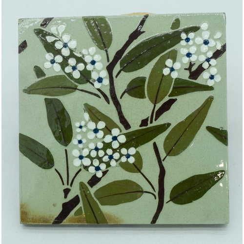 4053 - Two Victorian Wedgwood Arts and Crafts Barbotine Stencil tiles 15 x 15 cm(2)....