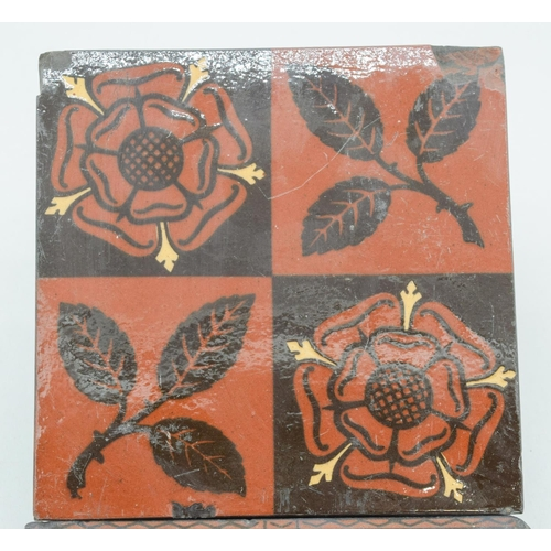 4054 - Two Victorian Maw and co Earthenware Transfer printed tiles 15 x 15cm (2)....
