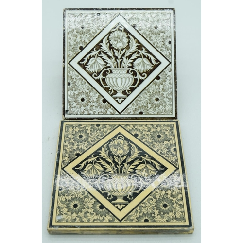 4055 - Two Victorian Minton China works Aesthetic Brown and white tiles 15 x 15cm (2)....