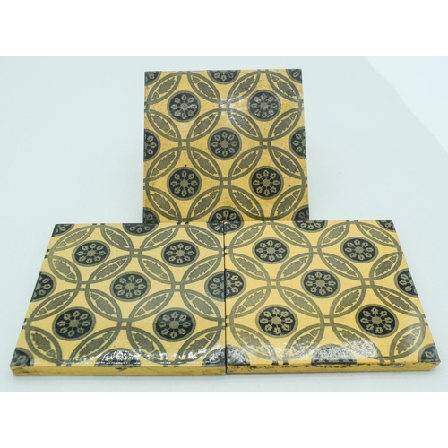 4056 - Three Victorian  Arts and Crafts tiles 15 x 15 cm (3)....