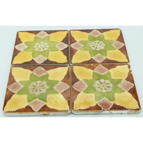 4058 - Four Victorian Majolica tiles 15 x 15 cm (4)....