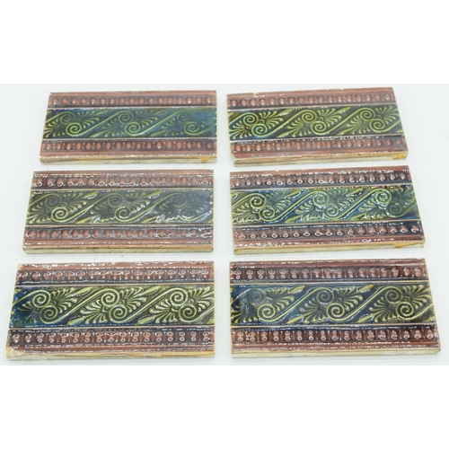 4066 - Six Victorian  Majolica surround tiles 15.5.x 8 cm (6)...