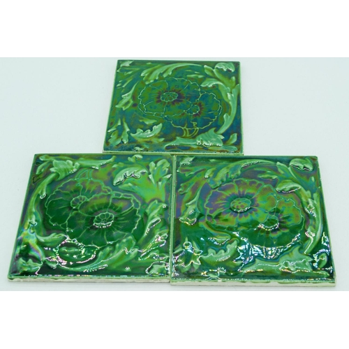 4068 - Three Green Glaze Tiles in a floral pattern 15 x 15cm (3)....