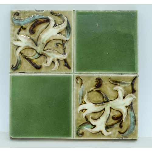 4072 - Four Victorian  Arts and Crafts  tiles 15 x 15 cm (3)....