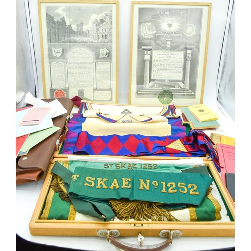 4098 - A collection of Freemasonry Aprons, Regalia, books and certificates qty....