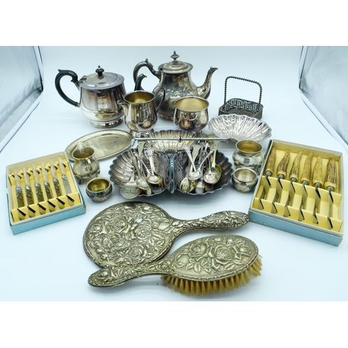 4128 - Collection of  silver plated items Qty ....