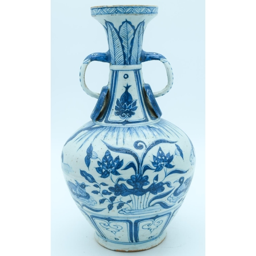 4139 - A Chinese Yuan style blue and white twin handled vase 34 x 19cm....