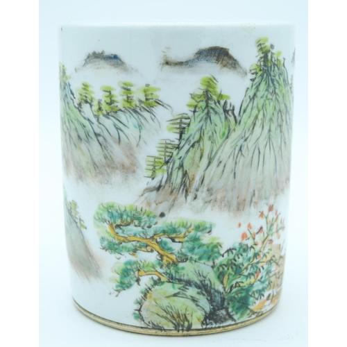 4140 - A Chinese Famille Verte brush pot 15.5 x 13 cm....