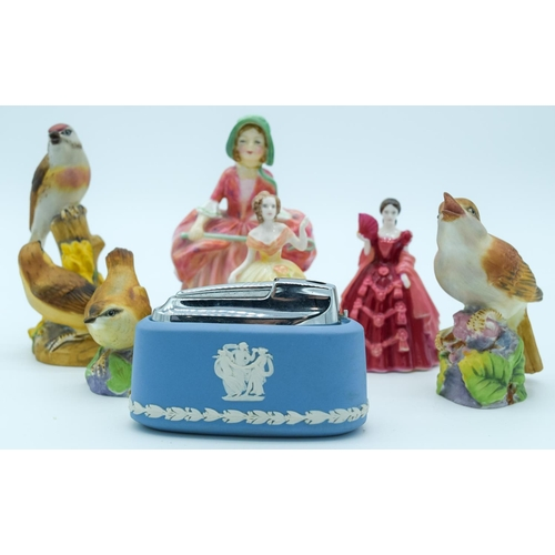 4151 - Collection of figures Coalport, Royal Worcester and Wedgwood  largest 13 cm (7)....