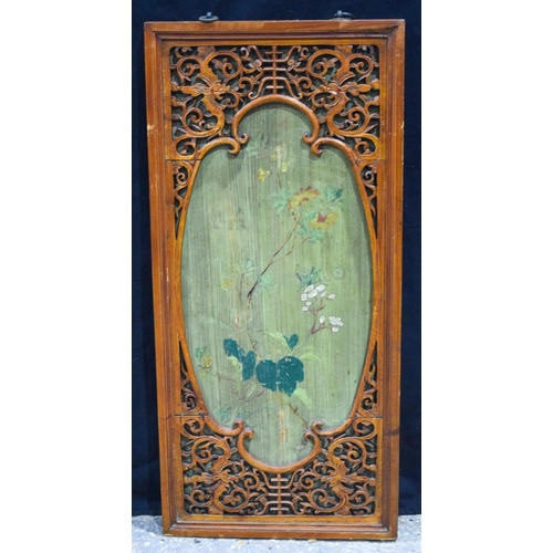 4166 - A Chinese framed lacquered panel decorated with foliage 31 cm...