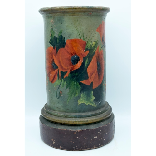 4177 - A Terracotta Stick stand painted with flowers by John S Street of Inverkeithing 49cm...