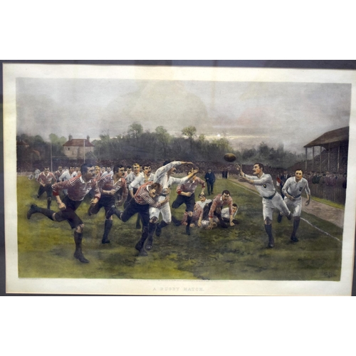 4180 - A large print by W Wollen A rugby match 74 x 45cm....