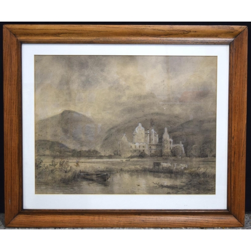 4181 - A large framed Charcoal and watercolour highland scene 70 x 54 cm....
