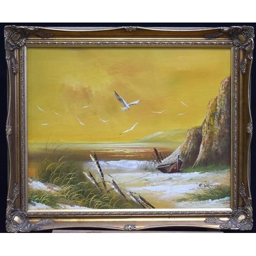 4186 - G Whitman framed Oil on Canvas coastal scene 39 x 49cm ....