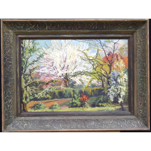 4187 - Framed Oil on canvas Country scene trees in bloom 35 x 52cm....
