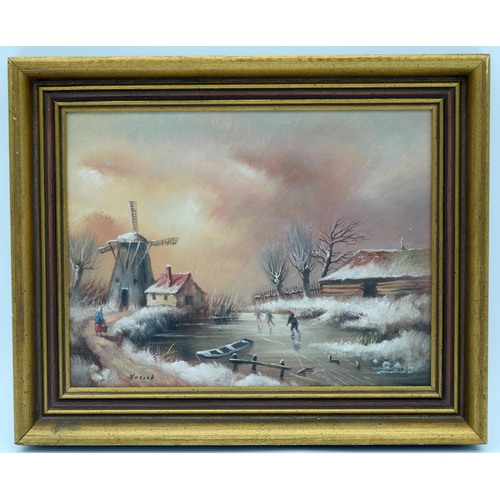 4189 - A Framed winter scene figures skating on a pond Signed by Hessel 18.5 x 24.5cm....