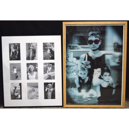 4192 - A 3D picture of Audrey Hepburn and a collage of Marilyn Monroe pictures 67 x 47cm ....
