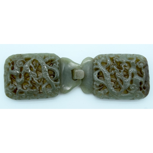 4206 - A Chinese Jade belt buckle 14.5 x 4.5cm....