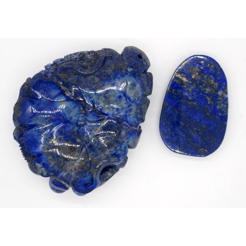 4216 - A carved Lapis Lazuli bolder in the form of a rat and a small pendant 8 x 6.5 cm....