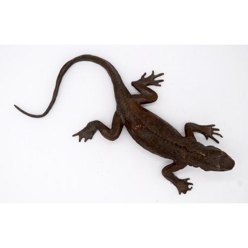 4229 - A Japanese small bronze Iguana 16cm....