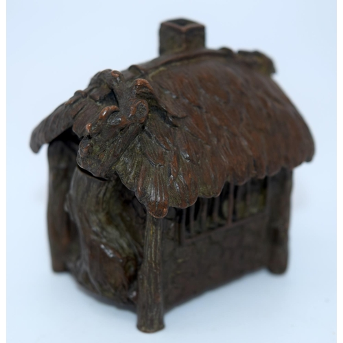 4241 - A Japanese small bronze figure of a house 6 x 5 cm (2)....