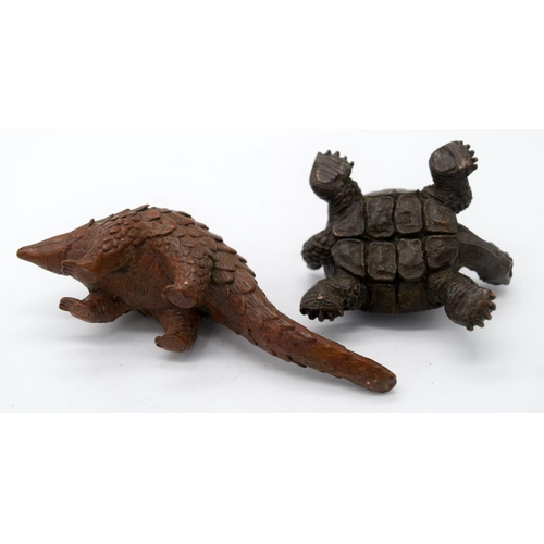 4245 - A Japanese small bronze Tortoise and an Armadillo  10cm (2)....