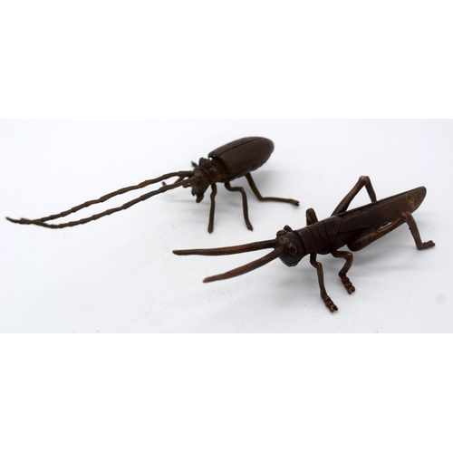 4247 - A Japanese small bronze Crass hopper and a beetle  14cm (2)....