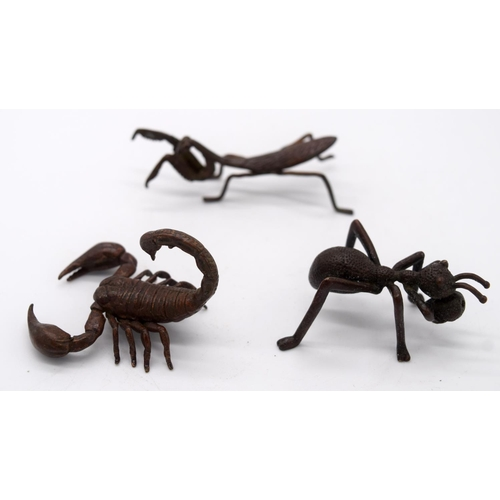 4253 - A Japanese small bronze scorpion , spider and a praying mantis 8 cm (3)....