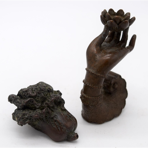 4256 - A Japanese small bronze Incense burner in the shape of a hand and a fruiting pod 7cm (2)....